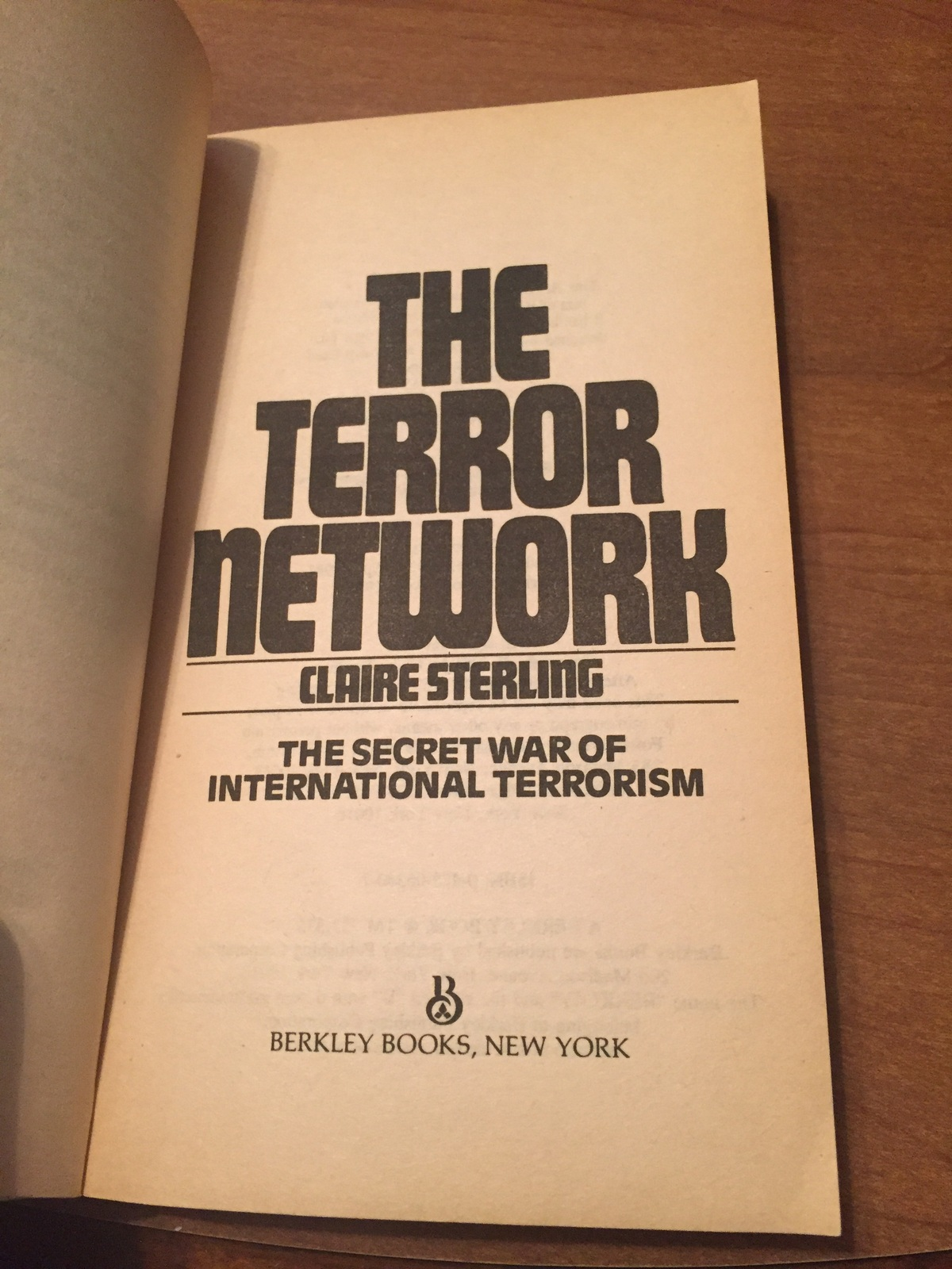 The terror network by Claire Sterling sec938