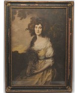 Antique Framed Hand Colored Drawing Sitting Victorian Woman - $262.34
