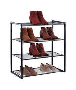 Shoe Organizer Free Standing Shoe Rack 4 Tier Shoe Rack Black Metal Shoe... - $68.45