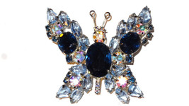 Vintage Prong Set Open Back Blue Rhinestone Butterfly Brooch Pin - $99.00