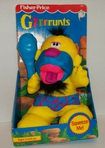 1991 Fisher Price GRRRRUNTS Grunts Caveman Plush Yellow Vintage New Sounds - $33.00