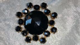 Bakelite black gold tone multi faucet pin brooch - $15.00