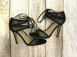 Neuf Bcbg Maxazria Chaussures Daim Maille Cravate Talon Noir Taille : Eur 37 - $41.78