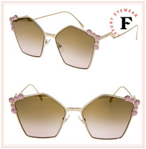 FENDI CAN EYE 0261 Gold Pink Stud Geometric Cat Eye Metal Flat Sunglasse... - $197.01