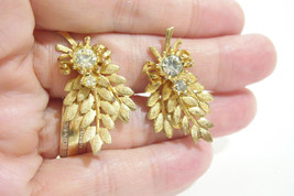 Vintage Sarah Coventry Leaf Bough Rhinestone Gold Plate Clip Earrings CO... - $14.36