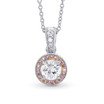 0.64Cts Colorless Diamond Halo Pendant Necklace Set in 18K White Rose Go... - $2,962.58