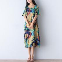 2 Color ZANZEA Fashion Ladies Casual Short Sleeve Cotton Vintage Floral Print Ka - $23.40+