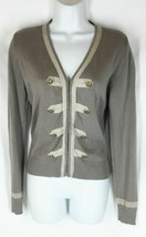 CABI Brown Ribbon Decorative Button Accent Hook Eye Closure Cardigan Swe... - $12.59