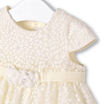 Mayoral Baby Girl 0M-12M Ivory White Burnout Floral Social Dress image 3
