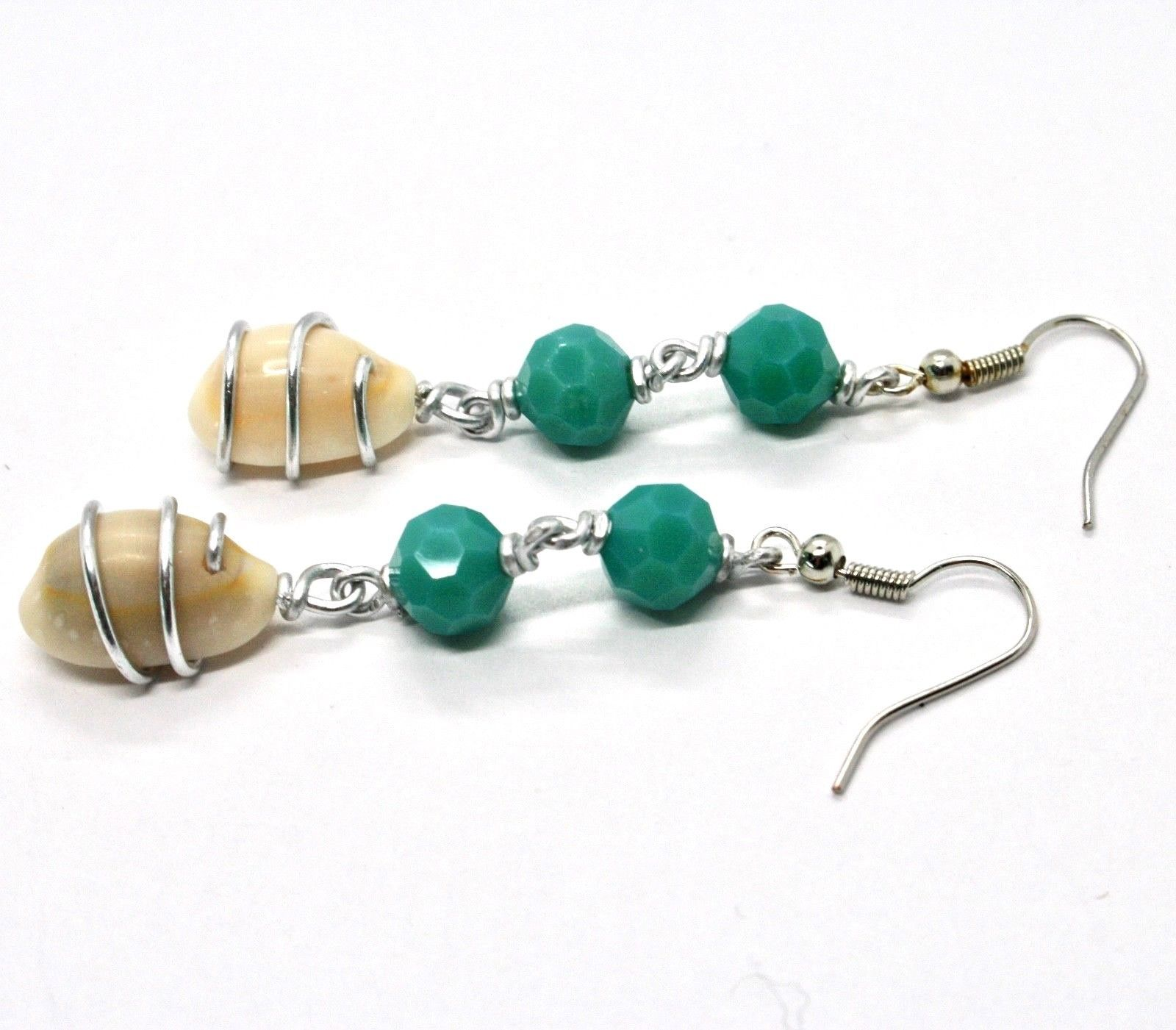EARRINGS THE ALUMINIUM LONG 6 CM WITH SEASHELLS AND CRYSTAL GREEN WATER