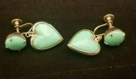Vintage Heart Shaped Green Screw On Earrings - $7.87
