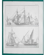 SHIPS Transport Swedish Galliote Pirate Sloop Tartane - 1828 Antique Print - $24.30