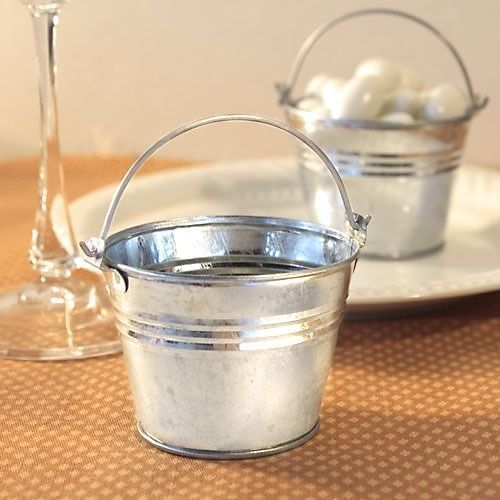 60 Silver Pails Miniature Galvanized Metal Buckets Wedding Favors Holders