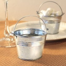 60 Silver Pails Miniature Galvanized Metal Buckets Wedding Favors Holders - $39.20