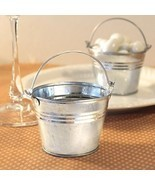 60 Silver Pails Miniature Galvanized Metal Buckets Wedding Favors Holders - £31.47 GBP
