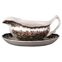 GRAVY BOAT & UNDER PLATE FRIENDLY VILLAGE JOHNS... - $74.79