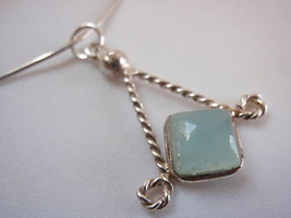 New Chalcedony Diamond-Shape 925 Silver Necklace India - $17.81