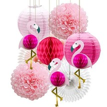 Tropical Pink Flamingo Party Honeycomb Decoration, Pom Poms Paper Flowers - $18.97