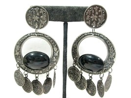 Large Vintage Dangle Faux Coin Silver Tone With Black Pierced Earrings Ethnic - $16.00