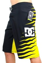 NEW DC SHOES MEN'S PREMIUM BOARD SHORTS SURF TRUNKS SWIMWEAR STRETCH YELLOW