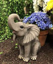 """Ebros Ruby The Elephant Sitting Pretty with Trunk Up Large Statue 17"""" Tall Circu - $59.99"""