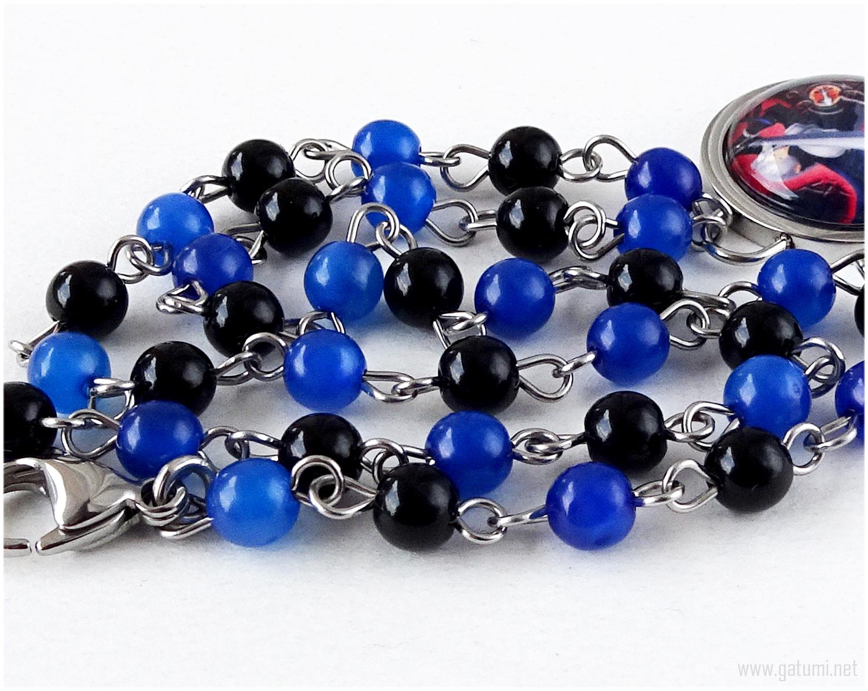 Final Fantasy Sephiroth Necklace, Glass Pendant, Beaded Chain, Black, Blue