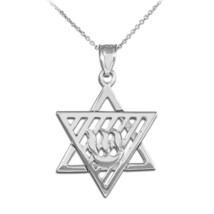 Sterling Silver Flaming Star of David Pendant Necklace - €22,53 EUR+