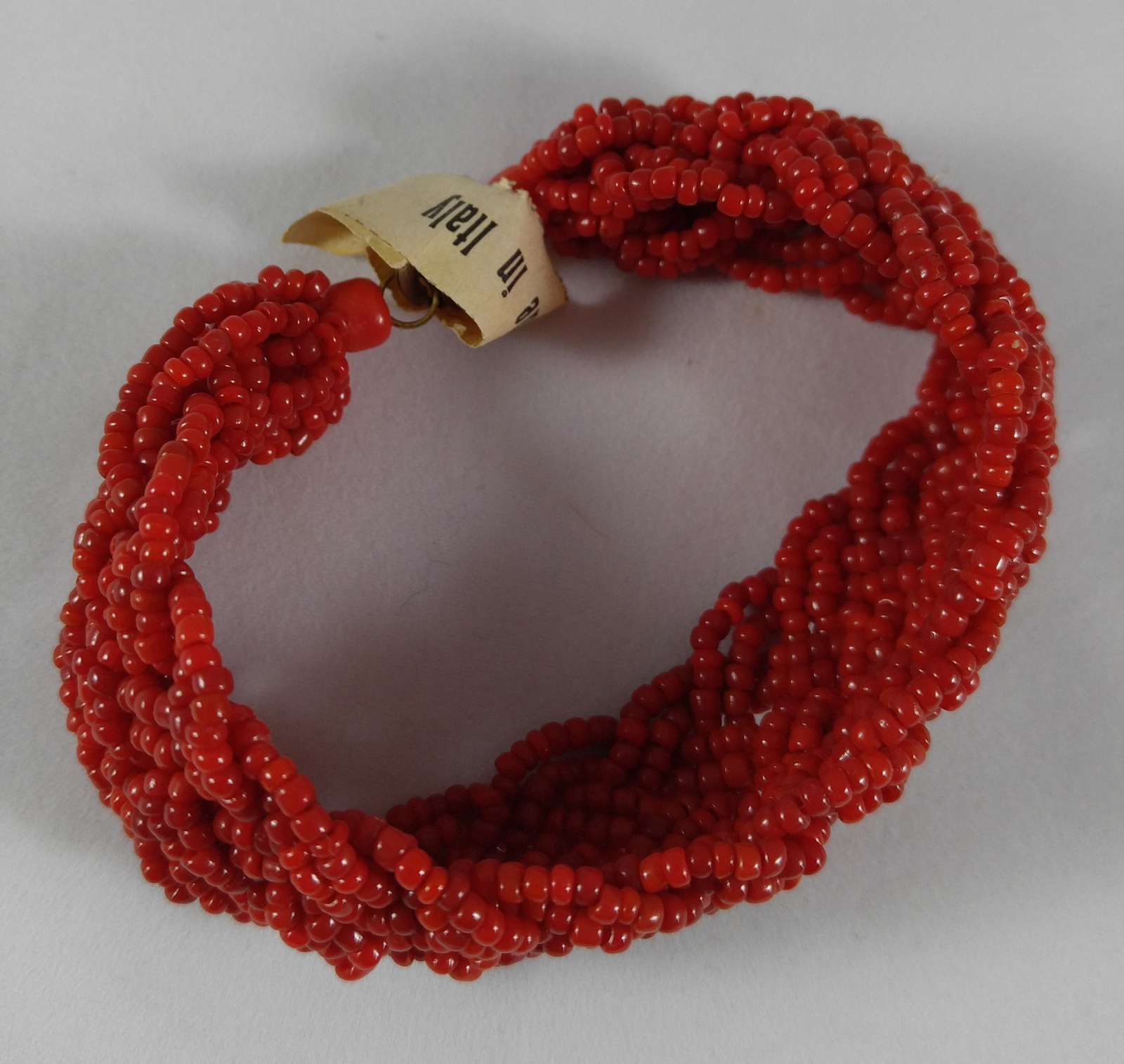 Rare Vintage 1950s Braided Coral Red Venetian Glass Seed Bead Bracelet Italy