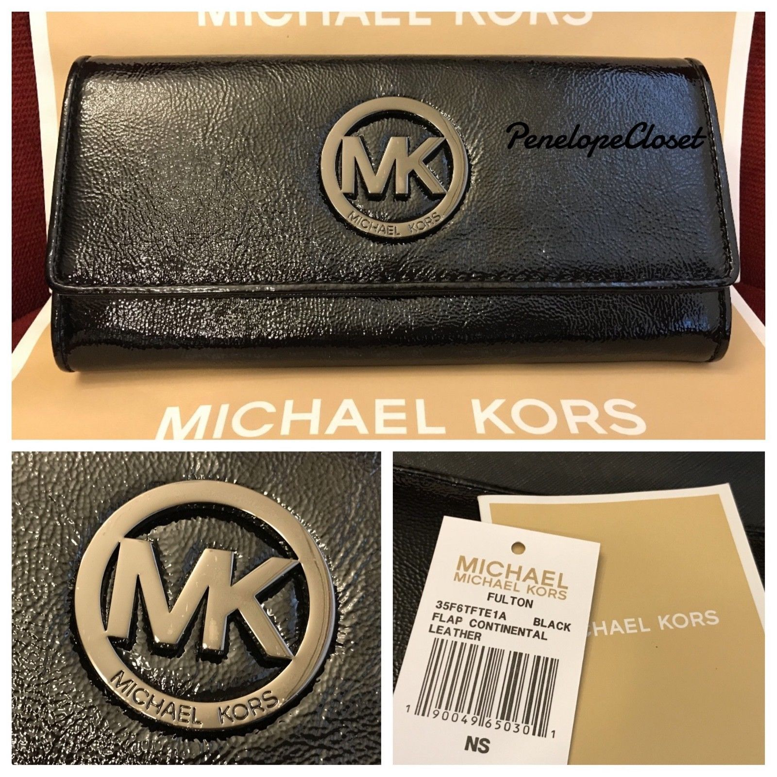 cffe8fc11091 S l1600. S l1600. Previous. NWT MICHAEL KORS PATENT LEATHER FULTON FLAP  CONTINENTAL WALLET IN BLACK