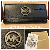 NWT MICHAEL KORS PATENT LEATHER FULTON FLAP CONTINENTAL WALLET IN BLACK - $62.88