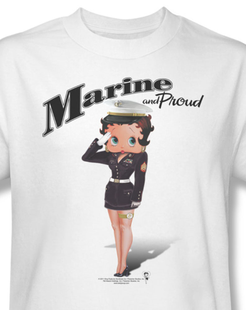 Betty boop marine and proud american pride for sale online white graphic tee bb736 at
