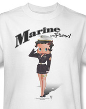 Betty Boop Marine & Proud Join The USMC American Pride Graphic T'shirt BB736 image 1
