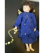 PORCELAIN COLLECTIBLE Angel Doll.  Brunette, Blue eyes, dressed in Royal... - $4.89