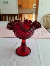 Ruby Red Fenton Amberina Hobnail glass candy dish. - $30.00