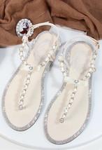 Women Ivory Pearls Beach Bridals Flip Flops,Pink Girls Beach Wedding sandals - $39.99