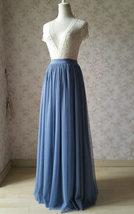 DUSTY BLUE Tulle Maxi Skirt Floor Length Women Tulle Skirt Dusty Blue Bridesmaid image 5