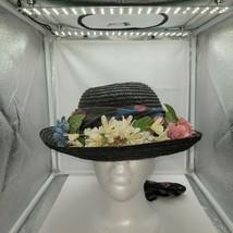 Art& Crafts Straw Hat W/ Scarf & Floral Band Blue Buffalo Check Wood Bow... - $29.69