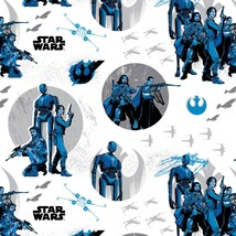 "Star Wars Rogue One White Rebels 100% cotton  Fabric Remnant 22"" - $9.79"