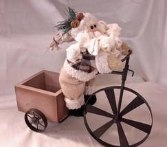Plush Santa Riding Big High Wheeler Bicycle Pulling Trailer For you to F... - $7.99