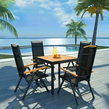 vidaXL Outdoor Dining Set Table Chairs 5 Piece WPC Folding Garden Furniture - $328.99