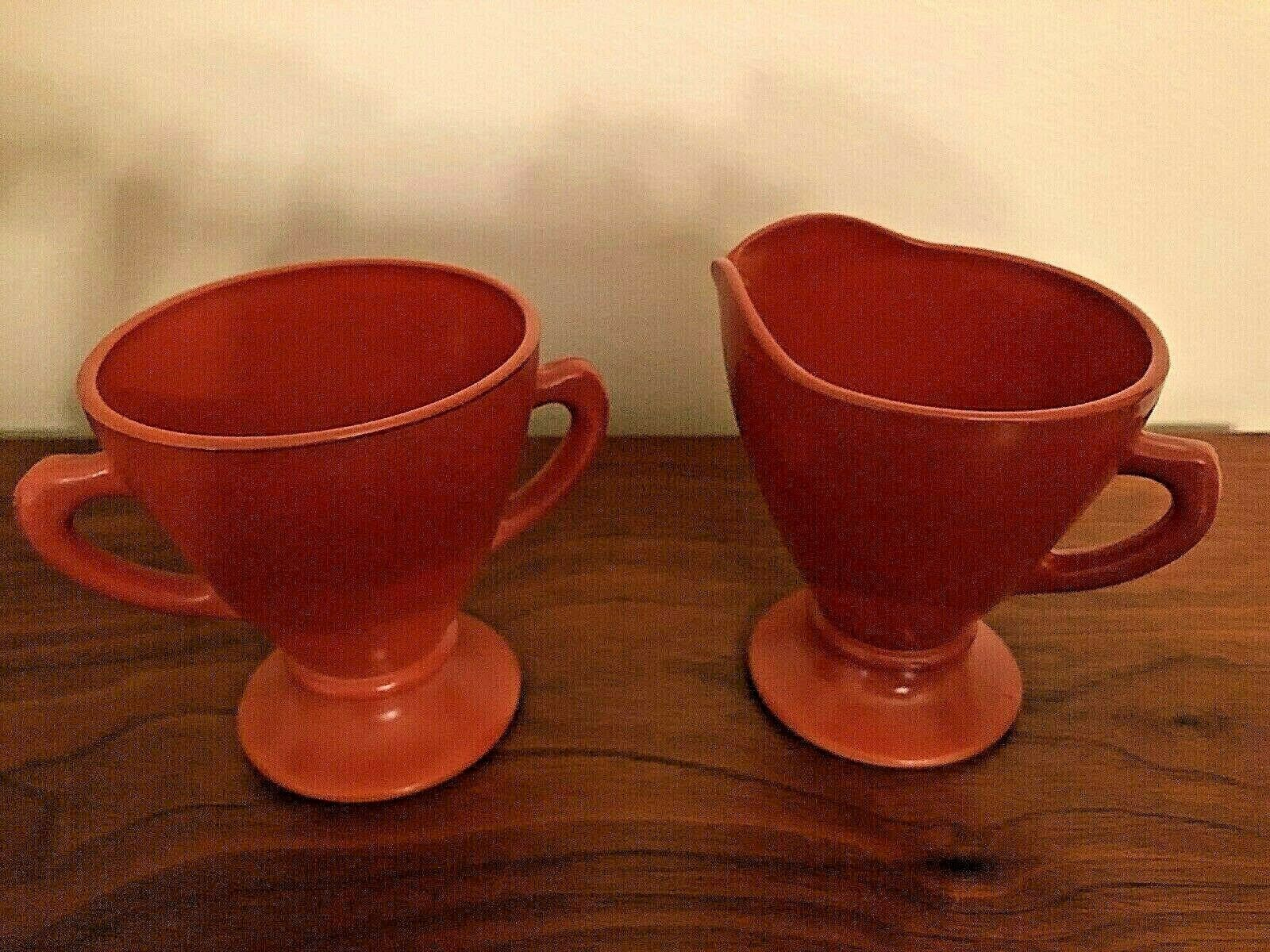 Primary image for Vintage 1940's Hazel Atlas Ovide Rust Open Sugar & Creamer