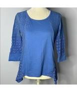 Wrangler Crochet Lace Handkerchief Hem Top M Blue 3/4 Sleeves Round Neck - $11.30