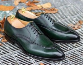 New Pure Handmade Dark Green Leather Stylish Lace Up Dress Shoes For Men's - $169.99