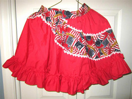 A17 Frilled, full circle, PATRIOTIC apron/overskirt in red with US flag.... - $19.79