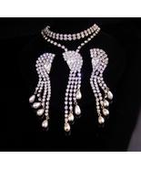 "Deco style Fringe necklace / 4"" chandelier earrings / Dazzling parure / ... - $135.00"