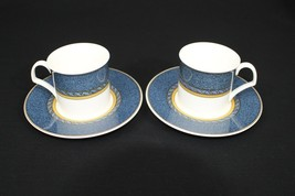 Set of 2 MIKASA china FLORENTINE BLUE DX005 pattern Flat Cups And Saucers - $24.95