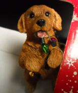 Sandicast Christmas Ornament Golden Retriever with String of Lights Original Box - $12.99