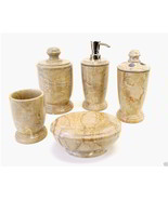 Natural Sahara Beige Marble 5-Piece Bath Accessory Set of Atlantic Colle... - $168.26