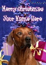 Rhodesian Ridgebacki Dog Merry Christmas Personalised Greeting Card codeXM226 - $3.93