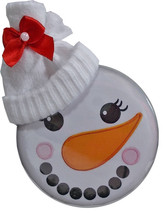 "1 CHRISTMAS 3"" BUTTONS ADORABLE SNOWMAN FACE W/ STOCKING HAT AND RIBBON - $13.85"